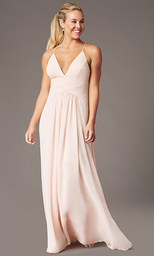 Image of long chiffon v-neck prom dress by Simply. Style: MCR-SD-3047 Detail Image 4