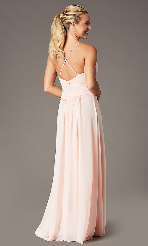 Image of long chiffon v-neck prom dress by Simply. Style: MCR-SD-3047 Detail Image 5