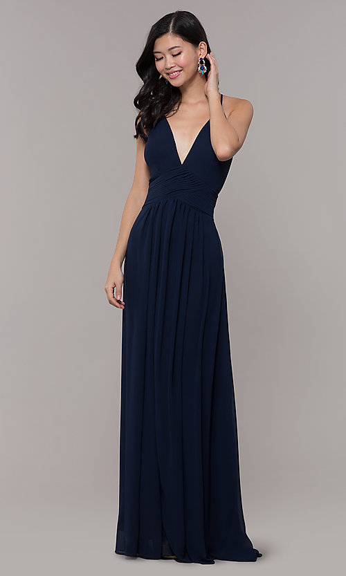 Image of long chiffon v-neck prom dress by Simply. Style: MCR-SD-3047 Front Image