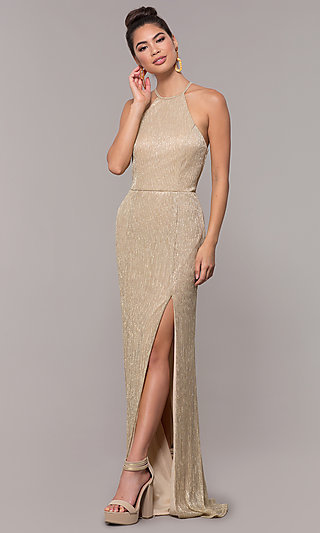 57575122afec Lame High-Neck Long Prom Dress by PromGirl. Share
