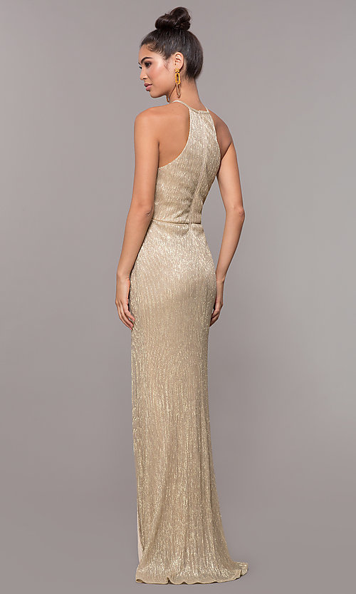 Image of high-neck long prom dress by PromGirl. Style: MCR-PL-2644 Back Image