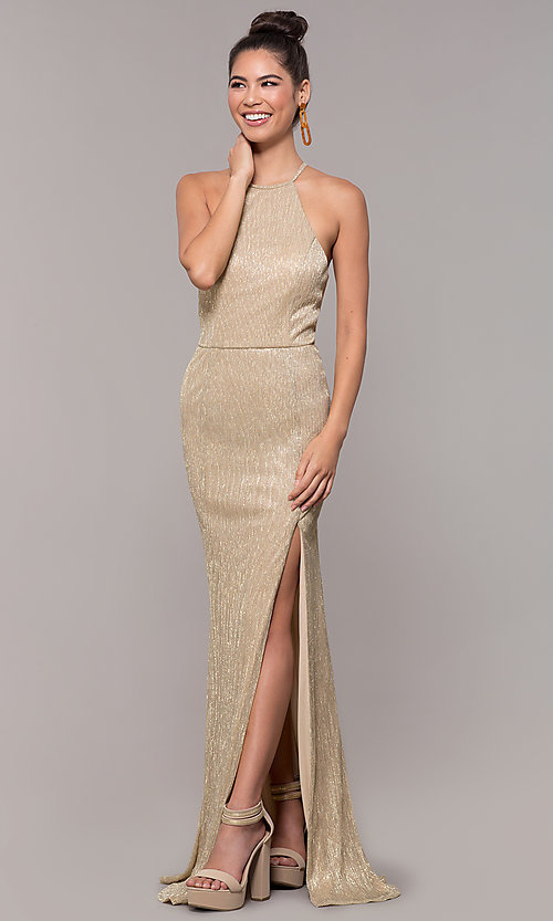 Image of high-neck long prom dress by PromGirl. Style: MCR-PL-2644 Detail Image 3