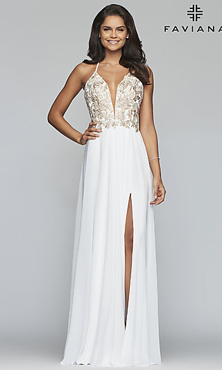 Long Chiffon Faviana Prom Dress with Open Back