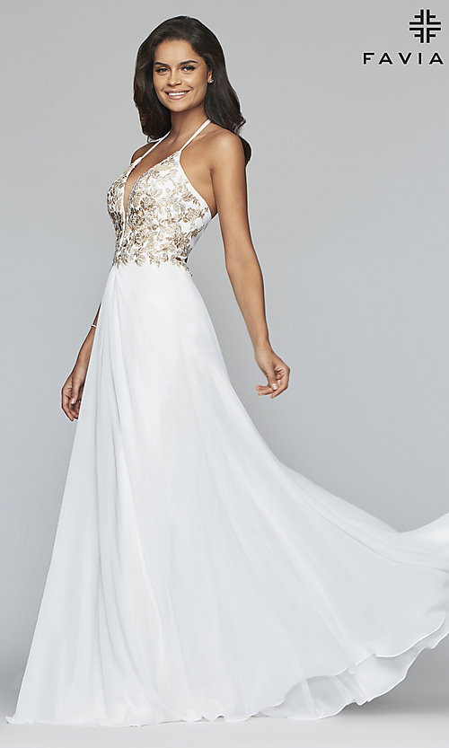 Image of long chiffon Faviana prom dress with open back. Style: FA-10201 Detail Image 3