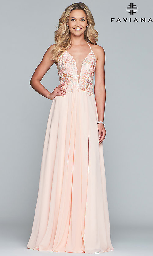 Image of long chiffon Faviana prom dress with open back. Style: FA-10201 Detail Image 4