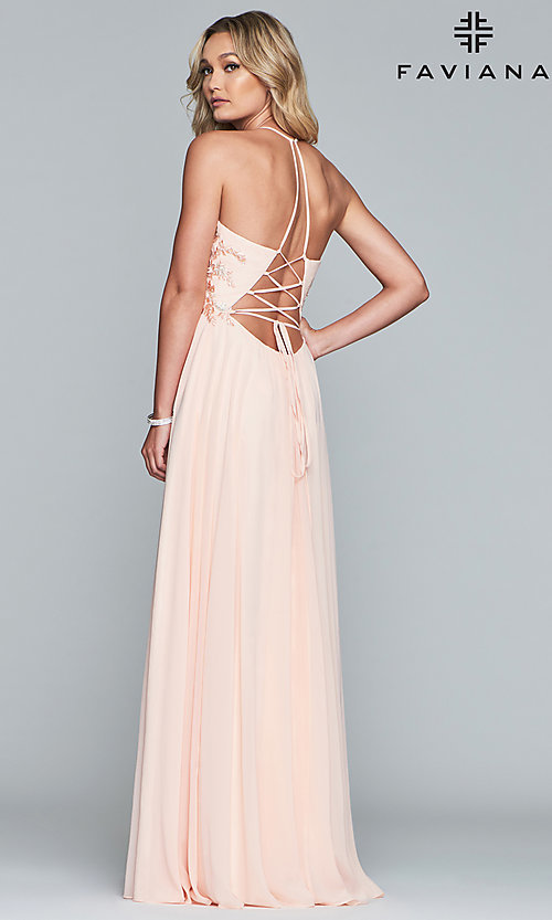Image of long chiffon Faviana prom dress with open back. Style: FA-10201 Detail Image 5