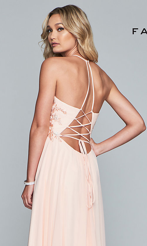Image of long chiffon Faviana prom dress with open back. Style: FA-10201 Detail Image 7