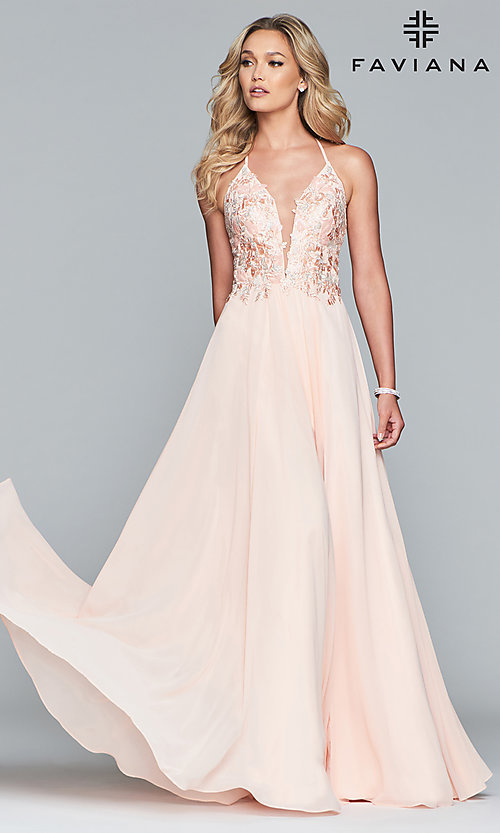 Image of long chiffon Faviana prom dress with open back. Style: FA-10201 Detail Image 8