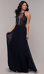 Image of long high-neck prom dress with lace-up back. Style: FA-S10203 Detail Image 7