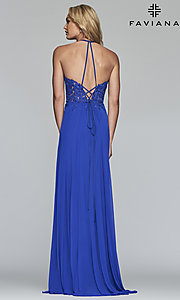 Image of long high-neck prom dress with lace-up back. Style: FA-S10203 Detail Image 6