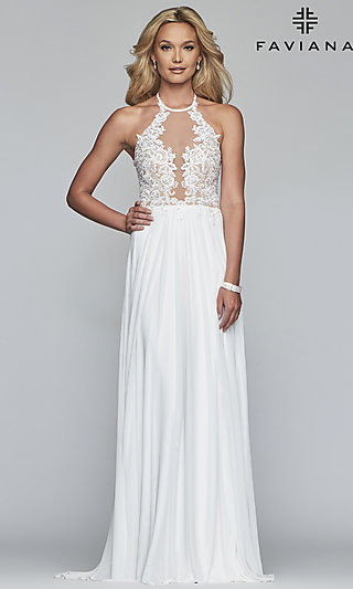 Long High-Neck Prom Dress with Lace-Up Back