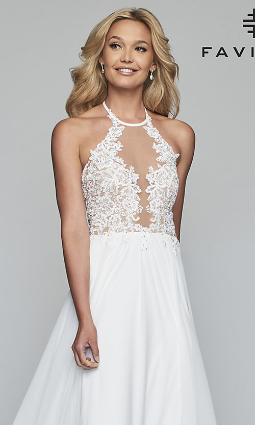 Image of long high-neck prom dress with lace-up back. Style: FA-S10203 Detail Image 1