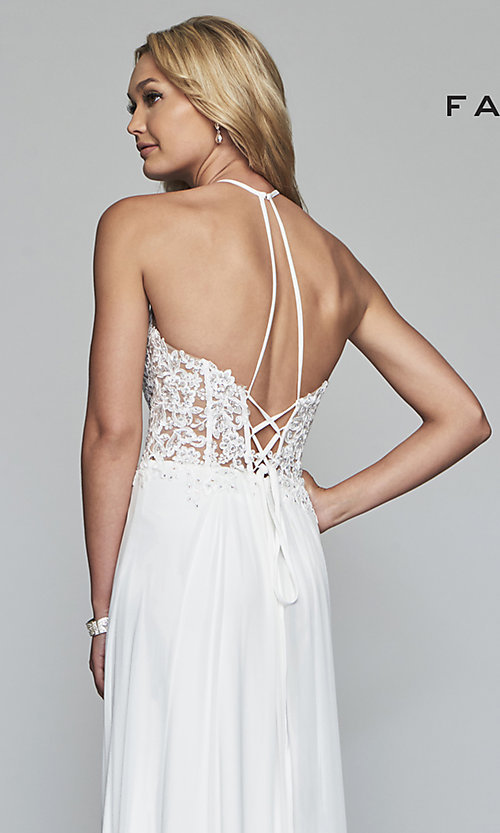 Image of long high-neck prom dress with lace-up back. Style: FA-S10203 Detail Image 2