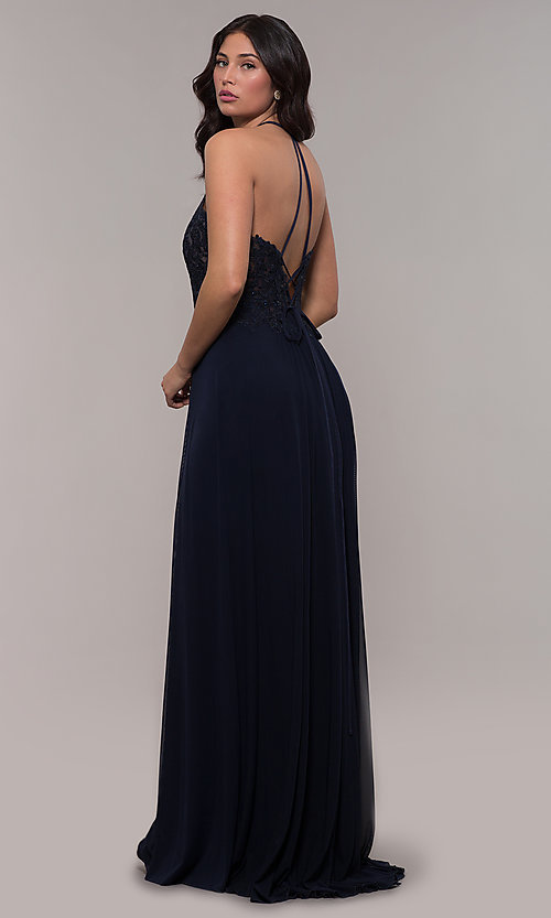 Image of long high-neck prom dress with lace-up back. Style: FA-S10203 Detail Image 8