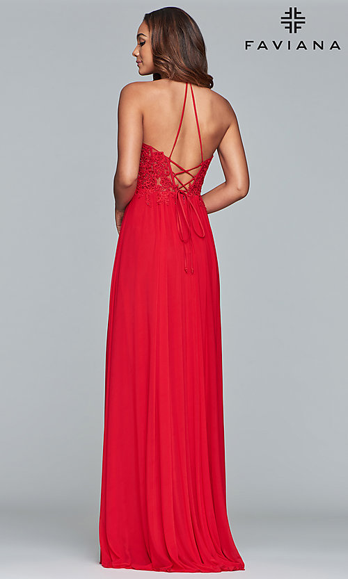 Image of long high-neck prom dress with lace-up back. Style: FA-S10203 Detail Image 4