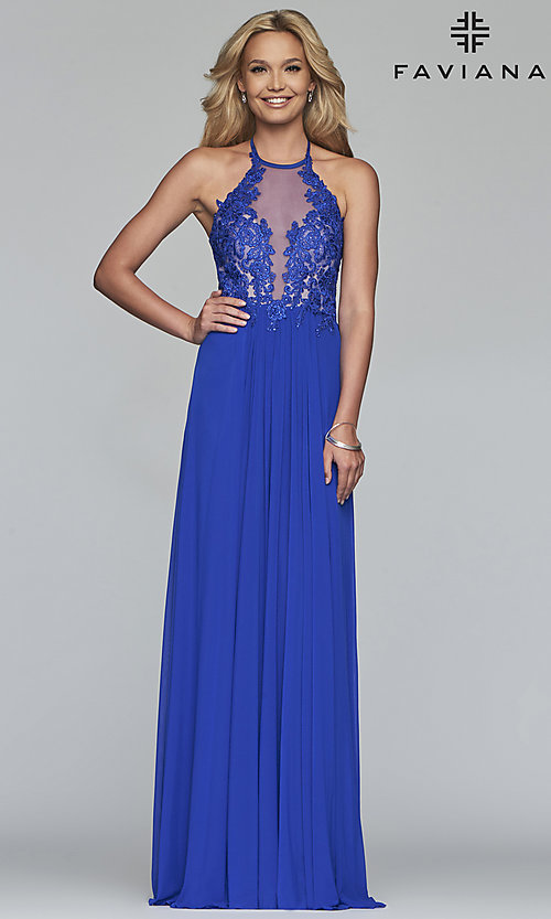 Image of long high-neck prom dress with lace-up back. Style: FA-S10203 Detail Image 3