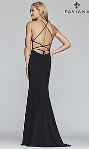Image of scoop-neck open-back prom dress by Faviana. Style: FA-S10205 Detail Image 4