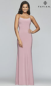 Image of scoop-neck open-back prom dress by Faviana. Style: FA-S10205 Back Image