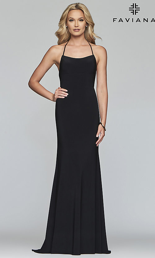 Image of scoop-neck open-back prom dress by Faviana. Style: FA-S10205 Detail Image 5