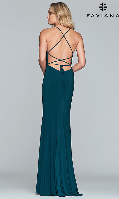 Image of scoop-neck open-back prom dress by Faviana. Style: FA-S10205 Detail Image 8