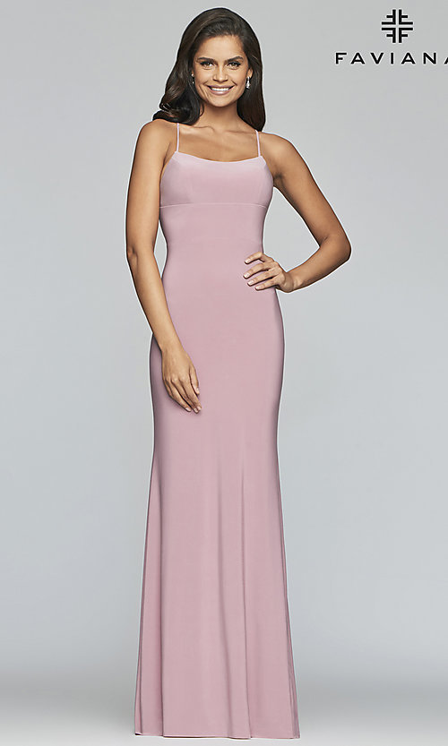 Image of scoop-neck open-back prom dress by Faviana. Style: FA-S10205 Detail Image 3