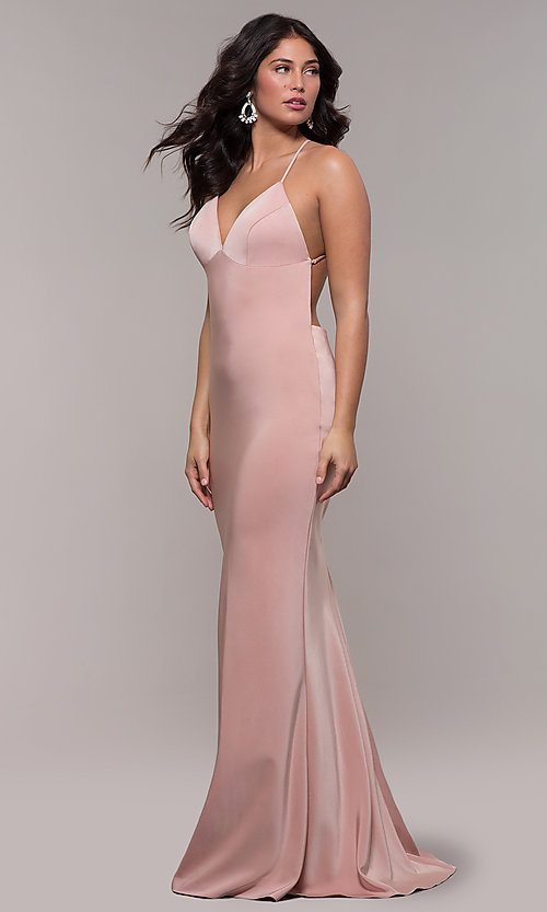 Image of sleeveless fitted v-neck prom dress by Faviana. Style: FA-S10214 Detail Image 3