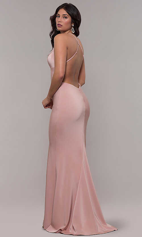 Image of sleeveless fitted v-neck prom dress by Faviana. Style: FA-S10214 Detail Image 4