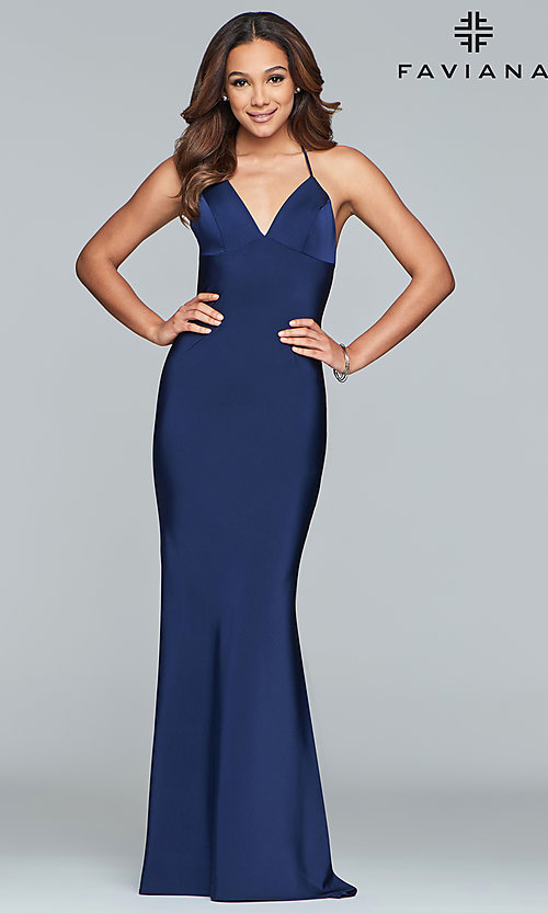 Image of sleeveless fitted v-neck prom dress by Faviana. Style: FA-S10214 Front Image