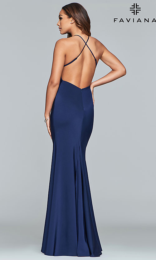 Image of sleeveless fitted v-neck prom dress by Faviana. Style: FA-S10214 Back Image