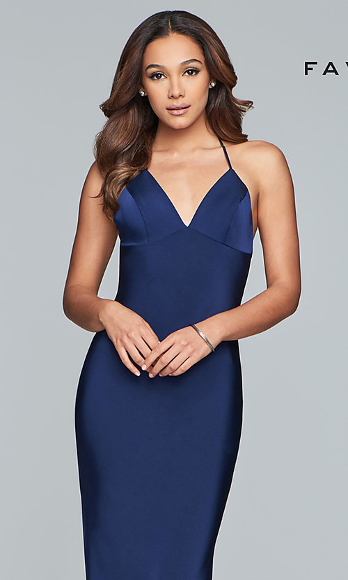 Image of sleeveless fitted v-neck prom dress by Faviana. Style: FA-S10214 Detail Image 1