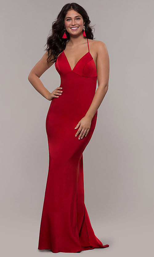 Image of sleeveless fitted v-neck prom dress by Faviana. Style: FA-S10214 Detail Image 6