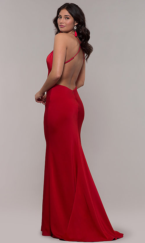 Image of sleeveless fitted v-neck prom dress by Faviana. Style: FA-S10214 Detail Image 7