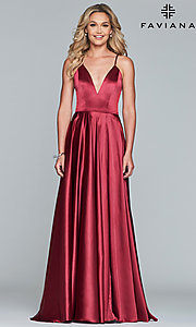 Image of long Faviana prom dress with back cut out. Style: FA-S10209 Detail Image 5