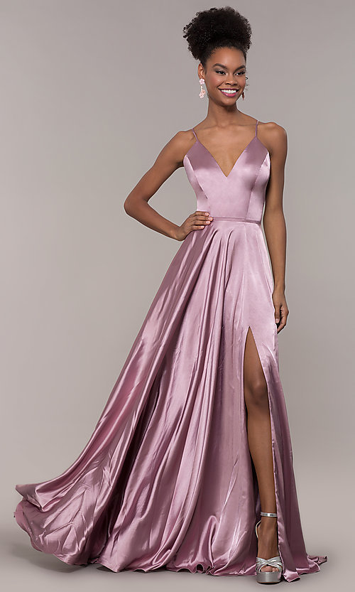 Image of long Faviana prom dress with back cut out. Style: FA-S10209 Front Image