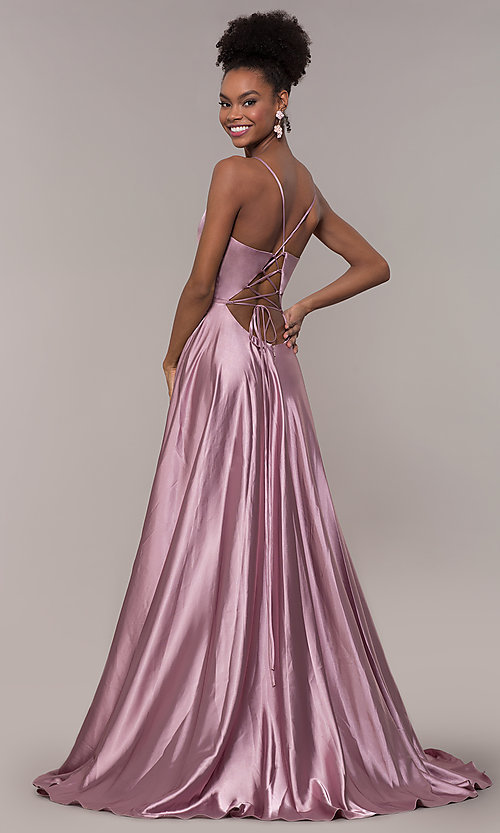 Image of long Faviana prom dress with back cut out. Style: FA-S10209 Detail Image 3