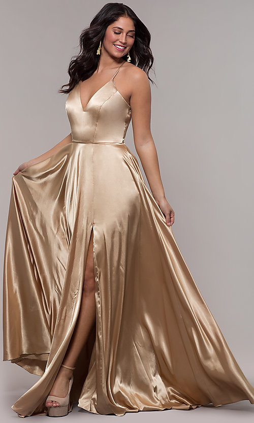 Image of long Faviana prom dress with back cut out. Style: FA-S10209 Detail Image 6