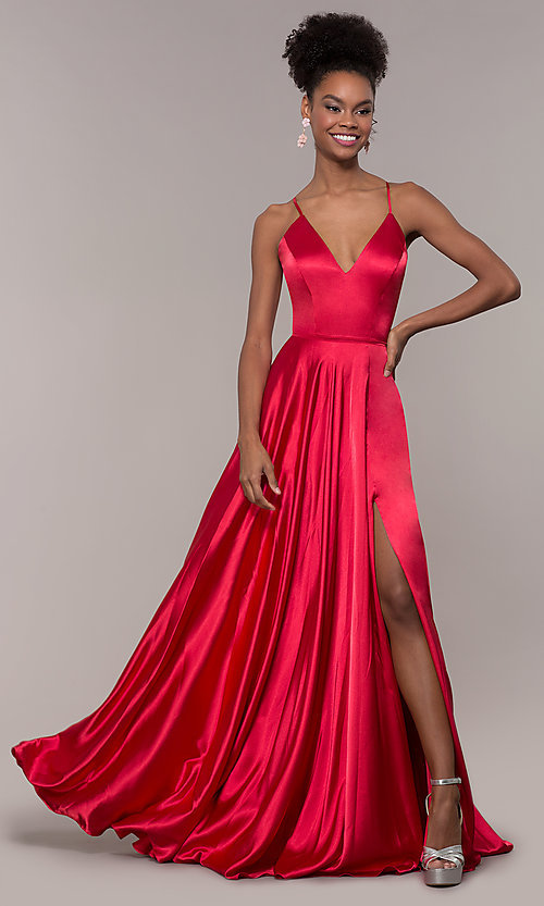 Image of long Faviana prom dress with back cut out. Style: FA-S10209 Back Image