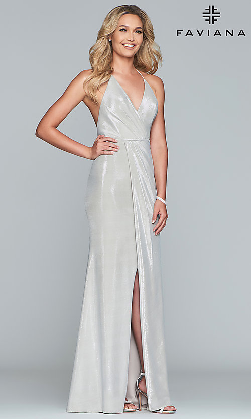 Image of long metallic v-neck prom dress by Faviana.  Style: FA-S10215 Detail Image 4