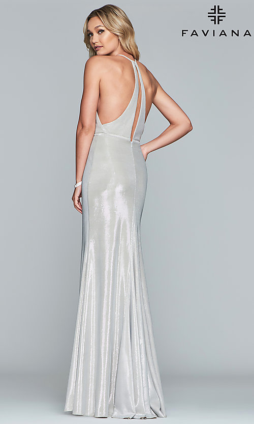 Image of long metallic v-neck prom dress by Faviana.  Style: FA-S10215 Detail Image 5