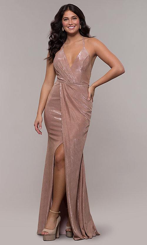 Image of long metallic v-neck prom dress by Faviana.  Style: FA-S10215 Front Image