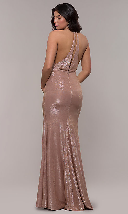 Image of long metallic v-neck prom dress by Faviana.  Style: FA-S10215 Back Image