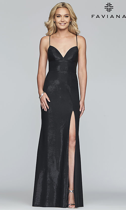 Image of long open-back metallic prom dress. Style: FA-S10218 Detail Image 5