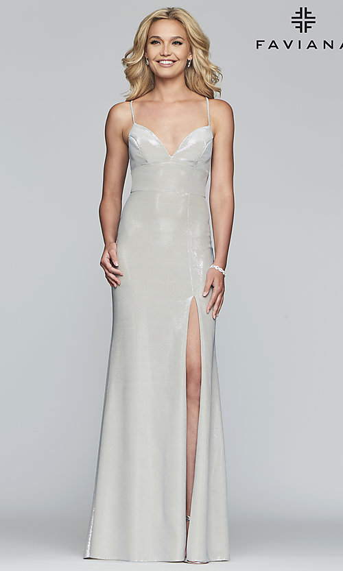 Image of long open-back metallic prom dress. Style: FA-S10218 Detail Image 7