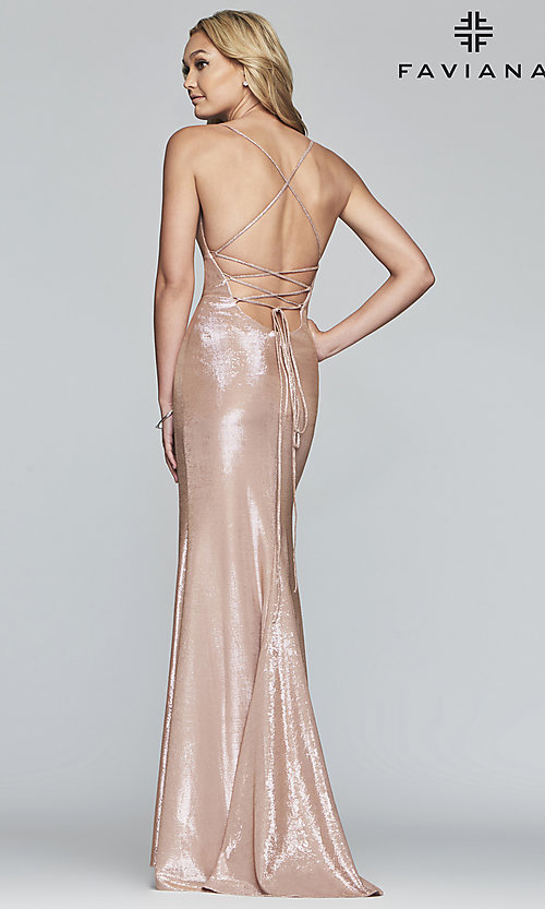 Image of long open-back metallic prom dress. Style: FA-S10218 Detail Image 4