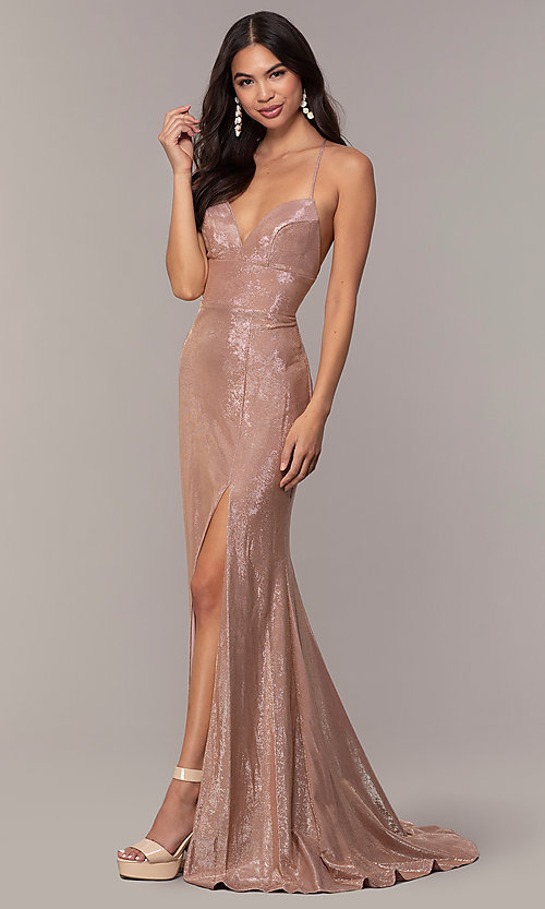 Image of long open-back metallic prom dress. Style: FA-S10218 Detail Image 3