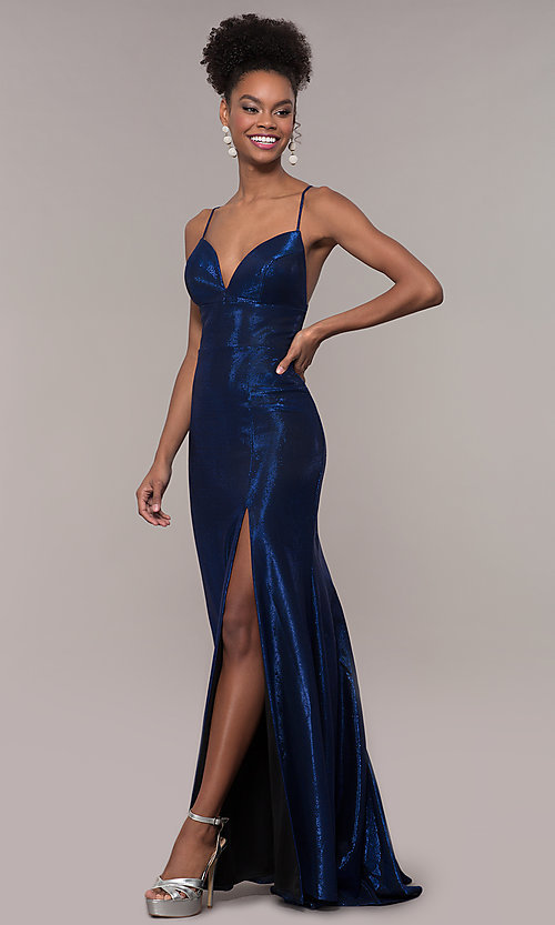 Image of long open-back metallic prom dress. Style: FA-S10218 Front Image