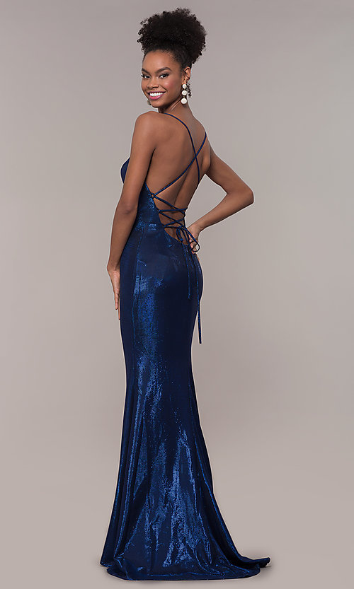 Image of long open-back metallic prom dress. Style: FA-S10218 Back Image