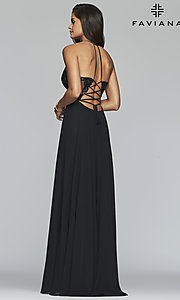 Image of long chiffon corset prom dress with sheer bodice. Style: FA-S10228 Detail Image 6