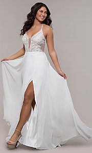 Image of long chiffon corset prom dress with sheer bodice. Style: FA-S10228 Detail Image 1