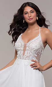 Image of long chiffon corset prom dress with sheer bodice. Style: FA-S10228 Detail Image 3